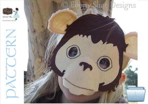Monkey Mask PATTERN. Digital sewing pattern for kids monkey costume.