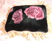 Vintage Roses painted on Black velvet with Sari back and Ribbon Fringe Boudoir Pillow