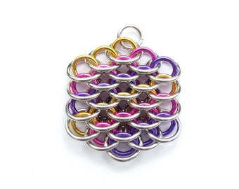 Chain Maille Pendant, Multicolor Pendant, Mini Dragonscale Pendant, Jump Ring Jewelry