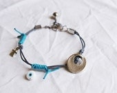SALES-Leather Bracelet with charms