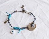 Gray and Turquoise Bracelet with charms