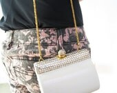 Vintage Sasha White and Gold Shoulder Bag / Clutch Purse With Rhinestones and Gold Chain Shoulder Strap