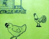 Encaustic Painting- Green Chicken & Rooster