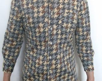 SALE - A splendid multicoloured woolen houndstooth 70s men's shirt