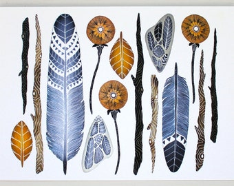 Nature Collection Painting - Feather Watercolor Art - Archival Art Print