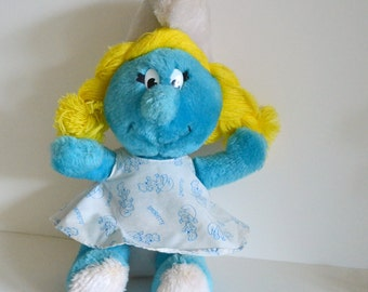 "Vintage Smurfette Smurf Stuffed Plush. 10"" 1980s cartoon tv show movie collectible. Great Condition. Eco Friendly Shipping"
