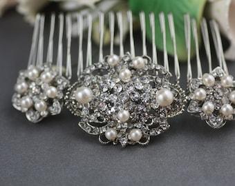 Marisa Swarovski vintage style crystal and pearl bridal hair comb