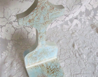 Handmade Wood Candle Sconce Blue Shabby Chic