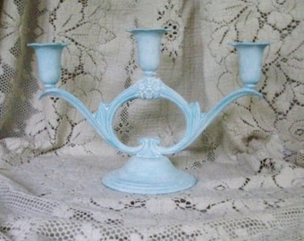 Metal 3 taper candle holder painted pale turquoise with a white wash French cottage ornate