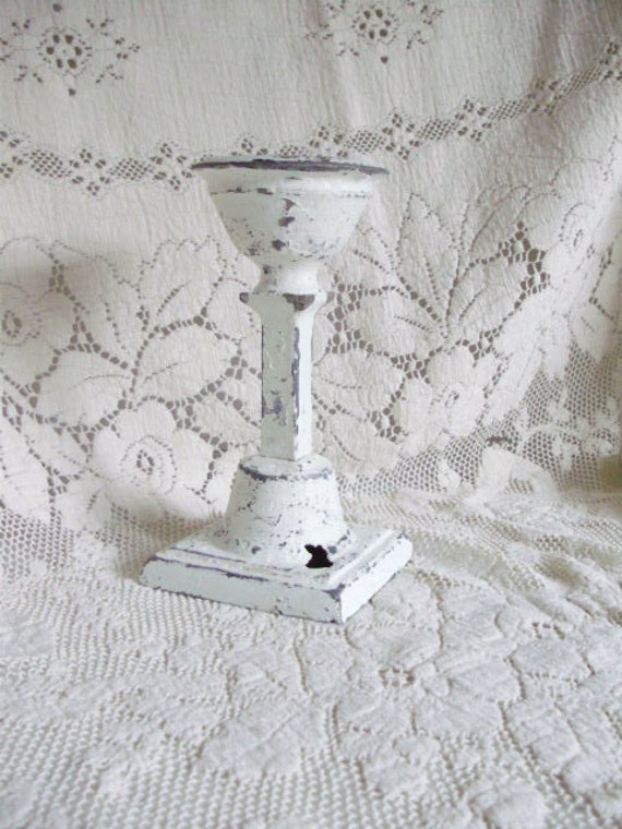 Metal Candle Holder Hand Painted White Cottage Shabby Chic Chippy