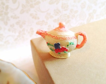 Miniature Teapot Adjustable Ring. Tea Party. White. Pink. Whimsical. Gifts for Her. Unique Ring. Brass. 5 Dollars.