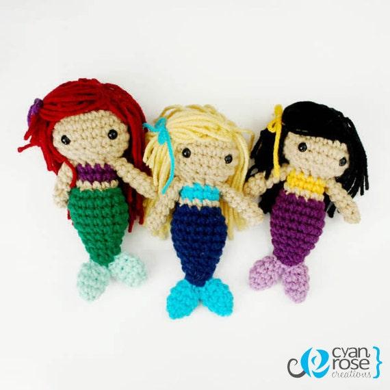 Three Mermaid Sisters - Crochet Plush Dolls - Set of 3