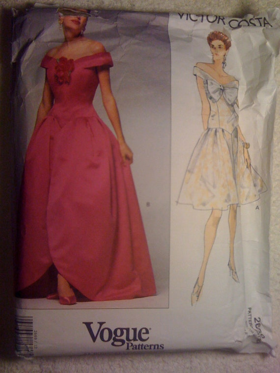 Vogue Sewing Patterns American Designer 2669 90s Rare Victor Costa Misses and Misses Petite Dress Size 12, 14, 16 Sale