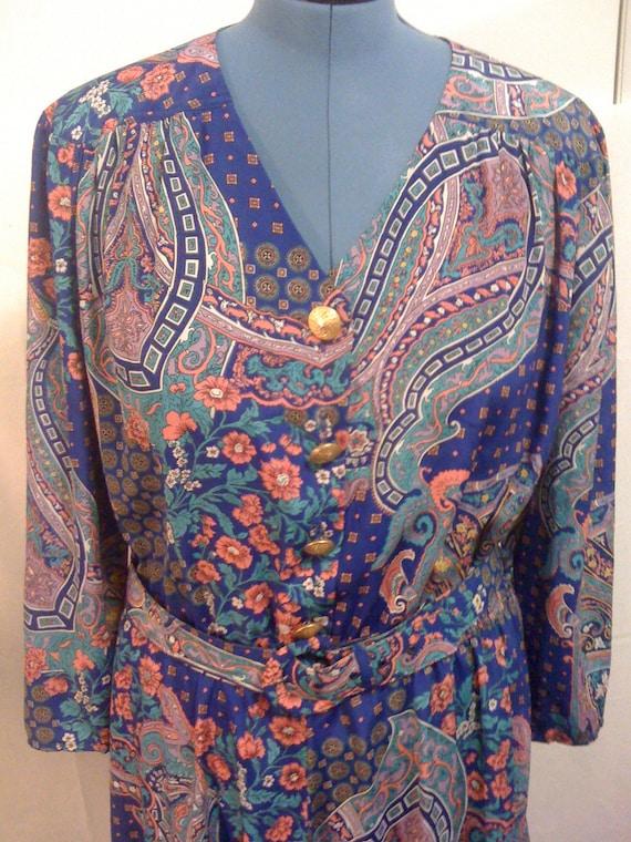 Leslie Fay Paisley Dress 1970s Women's Size 14 Sale d49