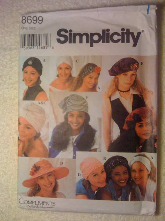Simplicity Sewing Pattern 8699 Misses Hats in Ten Styles 90s UNCUT Sale