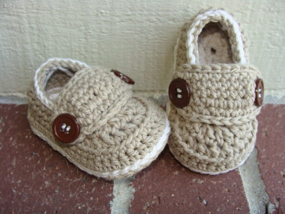 Crochet baby boy booties loafers shoes MADE TO by