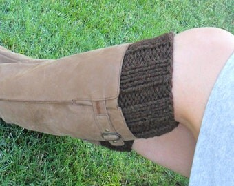Brown Boot Cuffs - Super Sweet - Hand Knitted Wool / Acrylic Knit Boot Cuff