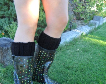 Black Boot Cuffs - Knit Boot Topper - Super Sweet Hand Knitted Magical Bootliness