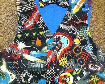 Rock and Roll  VEST & BOW TIE,  for little boys  sz 2-3yrs Only