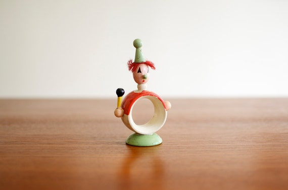 Vintage Wooden Clown Napkin Ring - Hand Painted