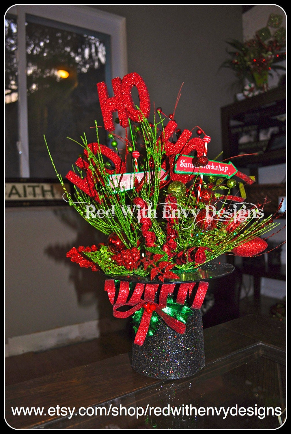 Sale christmas centerpiece by redwithenvydesigns on etsy