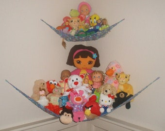 "PAIR of TWO LARGE ""Lovey Corrals""  - Toy Hammocks - in Choice of Colors - Stuffed Animal Organizers"