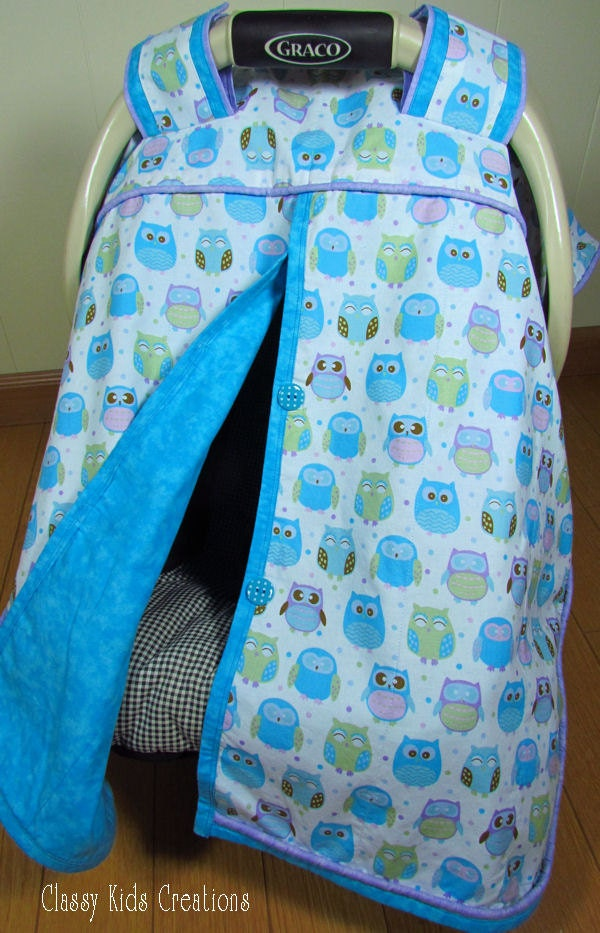 Teal Owls Baby Car Seat Blanket Canopy Car Seat Cover Car
