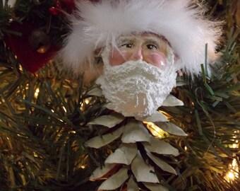 Country Primitive Prim Santa Pinecone Ornament