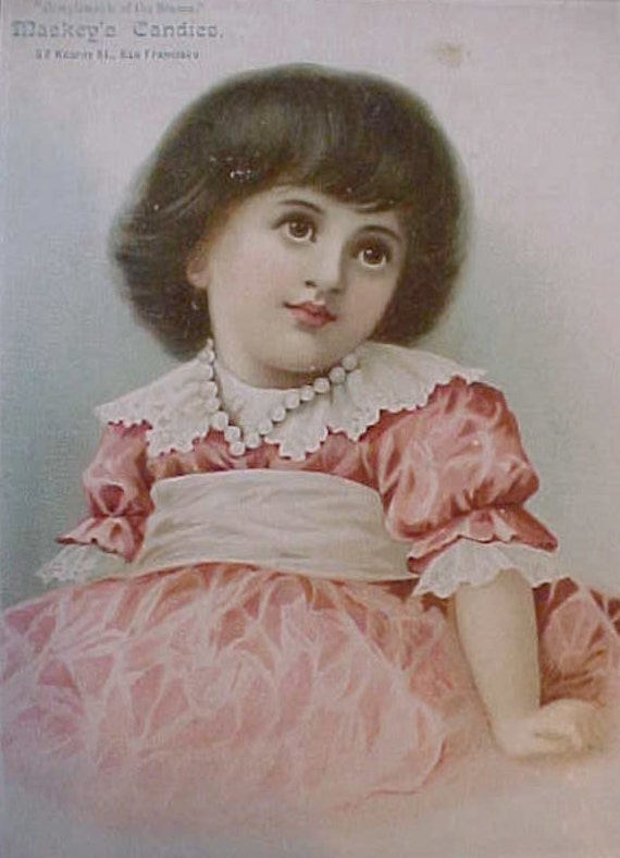 Darling Larger Victorian Trade Card-Little Girl in Pink Dress