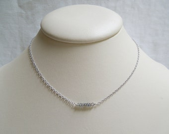 Minimalist Gemstone Necklace: Faceted Labradorite- Sterling Silver Chain- Layered Necklace
