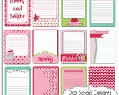 50% Off Project Life Inspired Journal Cards, Merry Christmas Pocket Cards, Printable or PNG, Pink, Green, Digital Scrapbooking