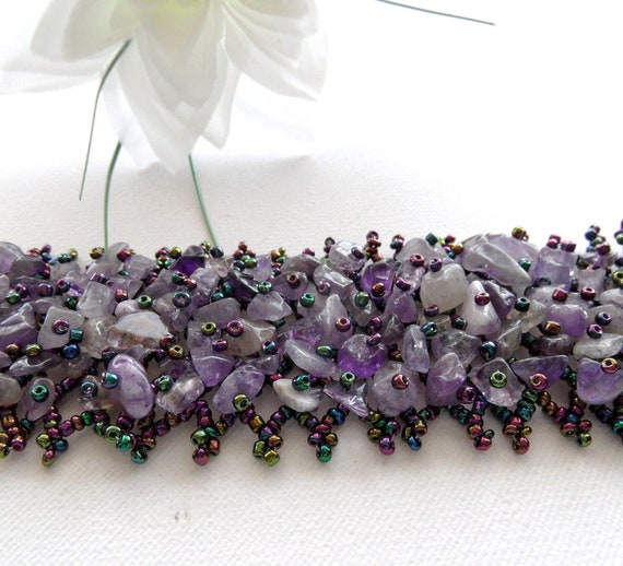 Amethyst Bracelet - Chip Beads Weave Charm Bracelet Bangle - Handmade Fashion Jewellery