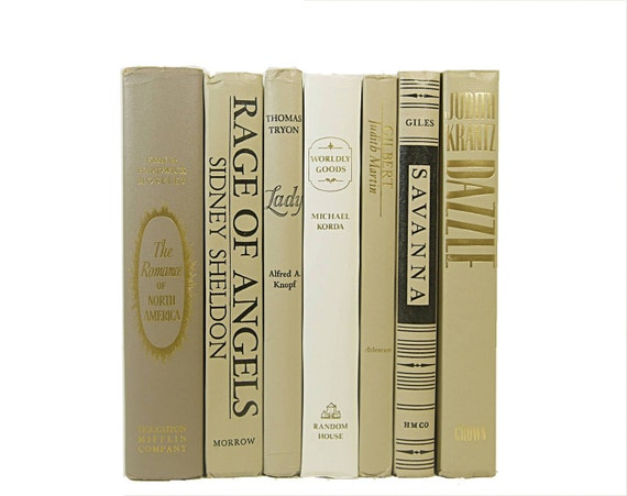 WHEAT Neutral Book Collection, Vintage Decorative Books, Wedding Decor, Book Bundle, Interior Design,Home Decor,  Photography Prop, White