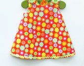 Baby Girl - Hatch Patch - Girl Dress - Aline Dress - Girls Peasant Dress - Flower - Floral Designs - KK Children Designs - 3M to 4T
