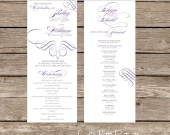 Amelia Collection Fancy Flourish Wedding Program- DIY Printable - Lovely Little Party - You Choose Color