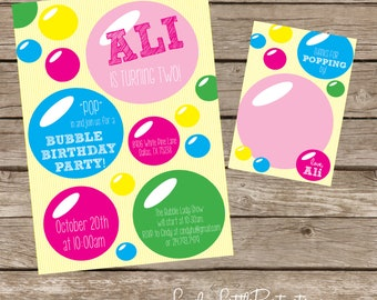 DIY Printable Bubble Birthday Invitation Kit - Invite AND Thank You Card included