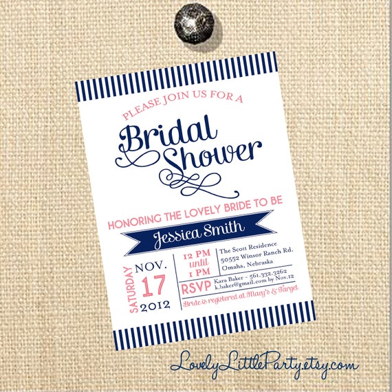 DIY Printable Swirls & Stripes Bridal Shower Invitation - You choose colors - Lovely Little Party