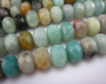 stone bead,Chinese amazonite,faceted 10x6mm,15 inch