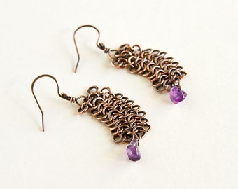 Copper Chainmaille Earrings Purple Amethyst European 4 in 1 Chain Mail Maille Antiqued Copper Earrings