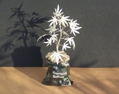 Wire Cannabis Sativa Tree Of Life Sculpture on a Sack - Glow in the Dark - Original Art