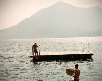 Large Wall Art- Couple Swimming in Lake Como-Romance on the Water-Varenna Italy-Picnic on an island-Fine art Photography-Wall art-16x20