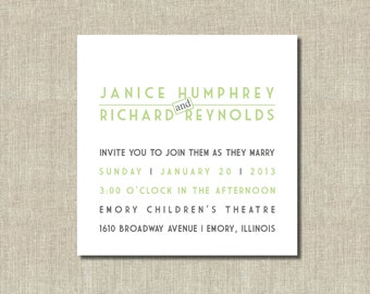 Modern Printable Wedding Invitation - Simple Lime Green and Grey Invitation -  Customized Colors - Birthday, Rehearsal , Retirement
