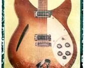 Red Rickenbacker Guitar art, music wall decor, musicians gift, gift for guy, gift for boyfriend, hipster, dude, rock n roll art