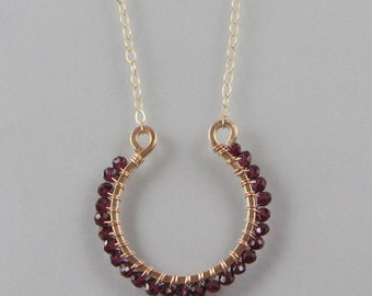Hammered Omega and multi gemstone necklace