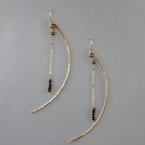 Hammered Bronze Crescent Moon and Stars Earrings with Moonstone or Pyrite