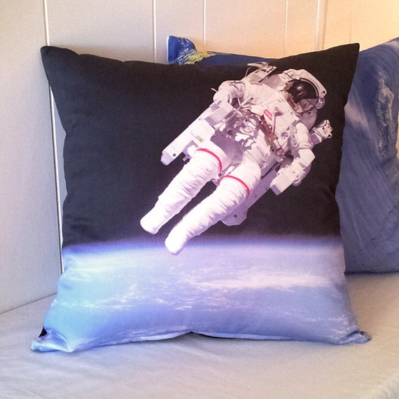 SALE - Astronaut in Space Pillow Cover: NASA Outer Space Shuttle Photo / White, Blue, Black / Perfect Astronomy Science Gift