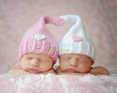Newborn Twin Girl Elf Hats in White and Pink, Pixie  Hat, Gnome Hat, Photo Prop.