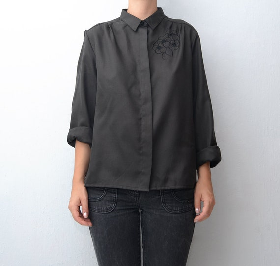 Vintage black mourning blouse with embroidered flowers