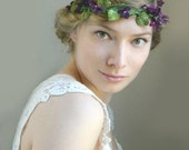 Violette Vine Signature Violette & Iris Hair Piece - Woodland Wedding Flower Crown - Purple Violet Rustic
