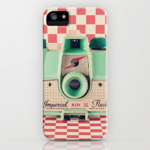 iPhone 5 Case, iPhone 5, Iphone 4, retro camera, girly girls feminine, red, mint, colour colourful, accessory, hipster, geek, blue